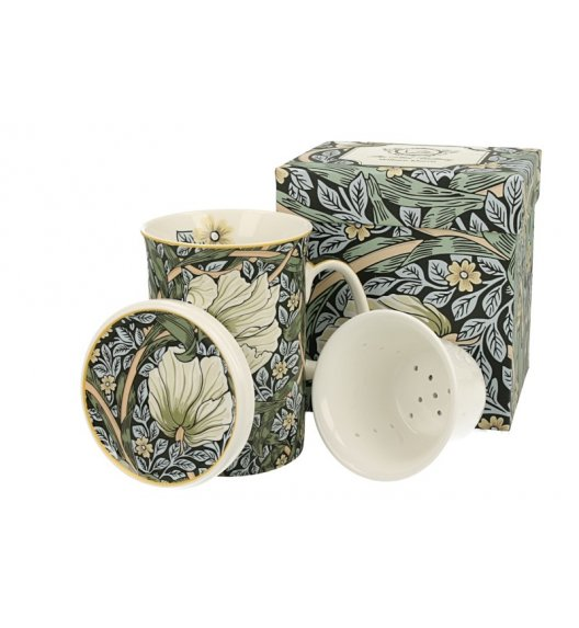 DUO GREEN Kubek z zaparzaczem 330 ml / inspirowana dziełami Williama Moriss'a / porcelana