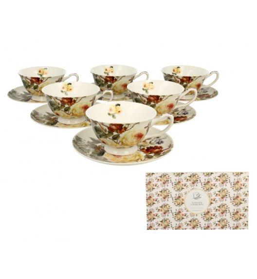 DUO ZAHRA Komplet 6 filiżanek ze spodkiem 200 ml / porcelana
