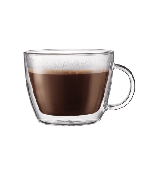 BODUM BISTRO Komplet 2 szklanych kubków do latte 0,45 l / podwójne ścianki / Btrzy