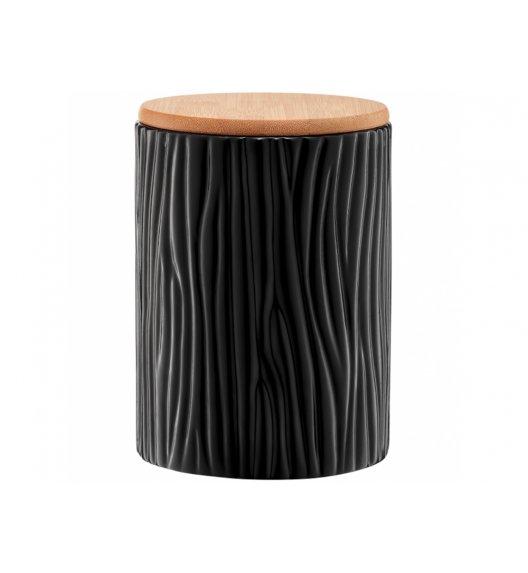 AMBITION TUVO Pojemnik z wytłoczeniami z bambusową pokrywką 1,1 l / czarny / ceramika