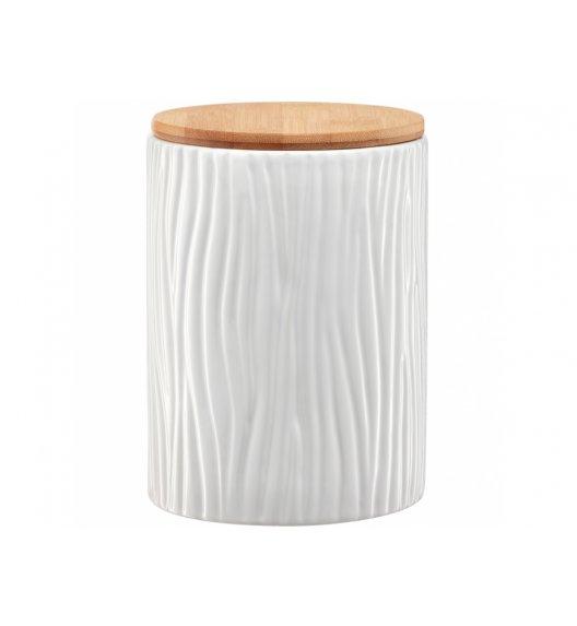 AMBITION TUVO Pojemnik z wytłoczeniami z bambusową pokrywką 1,1 l / biały / ceramika