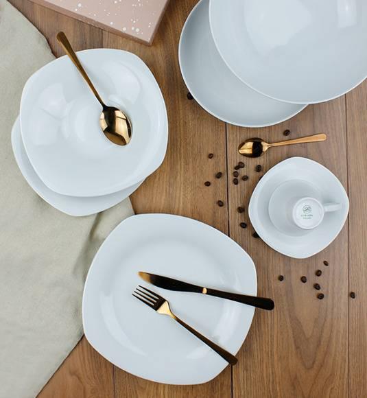 LUBIANA ELEGANCE Serwis obiadowo - kawowy 32 el / 6 osób / porcelana