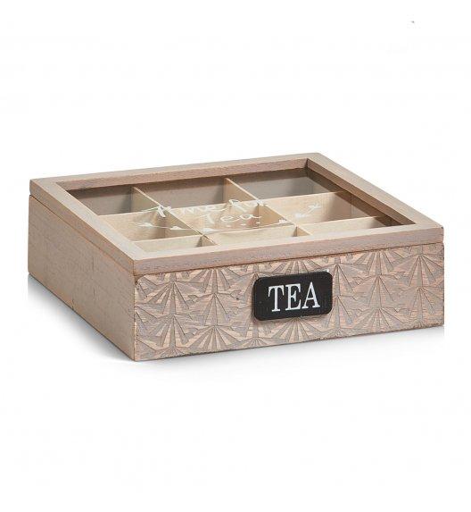 WYPRZEDAŻ! ZELLER Pudełko do przechowywania herbaty / 9 przegródek / styl skandynawski