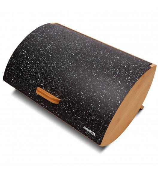 KÖNIGHOFFER COSMIC Chlebak z otwieraną pokrywą 35 cm / czarny marmur / drewno bambusowe