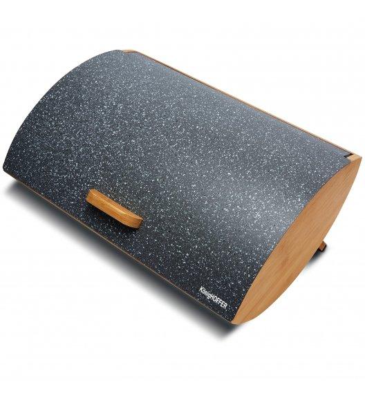 KÖNIGHOFFER COSMIC Chlebak z otwieraną pokrywą 35 cm / szary marmur / drewno bambusowe
