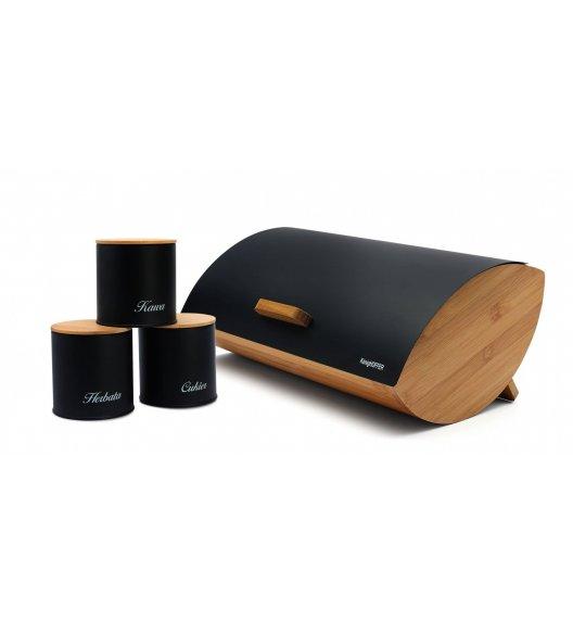 KÖNIGHOFFER COSMIC Chlebak z otwieraną pokrywą 35 cm + 3 pojemniki do przechowywania / czarne / drewno bambusowe