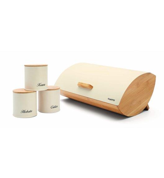 KÖNIGHOFFER COSMIC Chlebak z otwieraną pokrywą 35 cm + 3 pojemniki do przechowywania / kremowe / drewno bambusowe