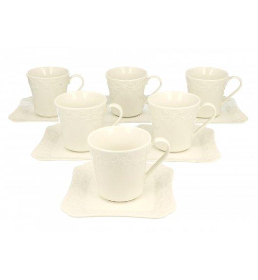 DUO ING Komplet 6 Filiżanek 200 ml ze spodkami / porcelana