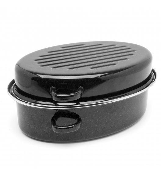 TADAR Brytfanna owalna z okuciem i grillem 3,5 L / czarna / stal węglowa / indukcja