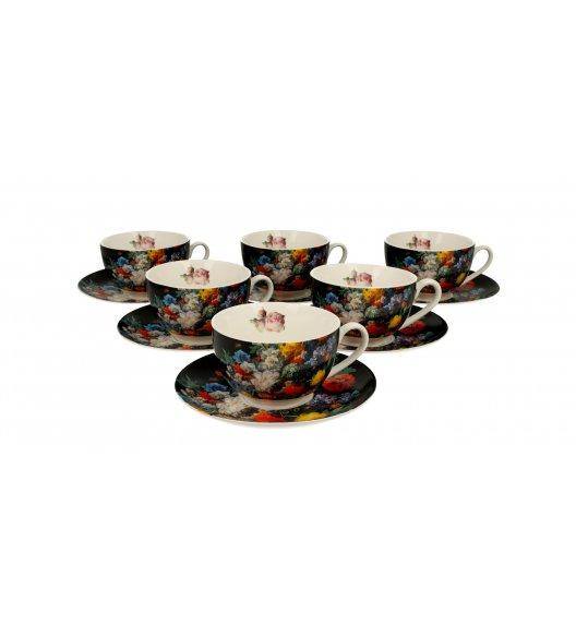 DUO BUKIET Komplet 6 filiżanek ze spodkami 250 ml / porcelana