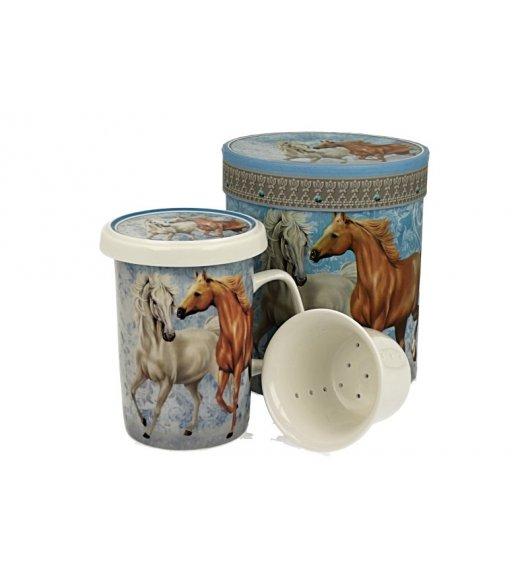 DUO HORSES Kubek z zaparzaczem 320 ml / porcelana