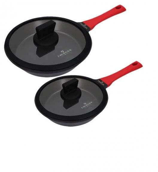 ZWIEGER OBSIDIAN Komplet patelni z pokrywkami / powłoka GREBLON C3+ non- stick / 24, 28 cm