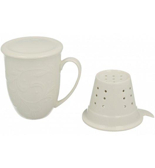 WYPRZEDAŻ! DUO HEMINGWAY Kubek porcelanowy z zaparzaczem 300 ml biały ze zdobieniem