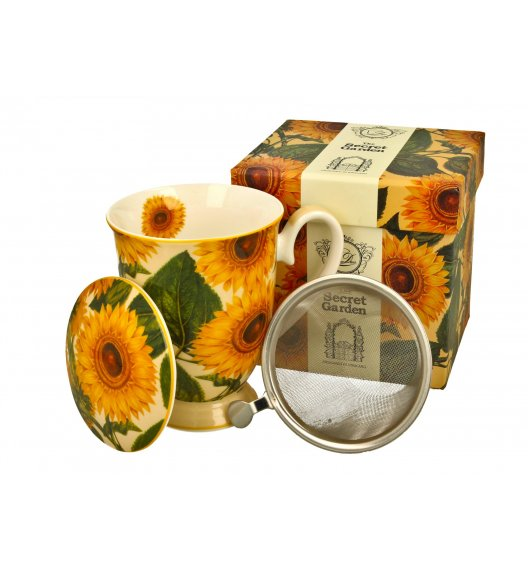 DUO SUNFLOWERS Kubek z zaparzaczem 325 ml / porcelana