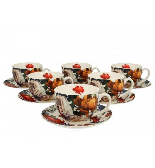 DUO WHITE ROSES Komplet 6 filiżanek ze spodkami 250 ml / porcelana