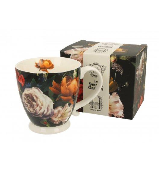 DUO DARK FLOWERS Kubek na stopce 480 ml / porcelana