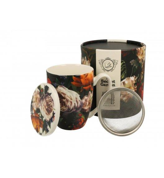 DUO DARK FLOWERS Kubek z zaparzaczem 320 ml / porcelana