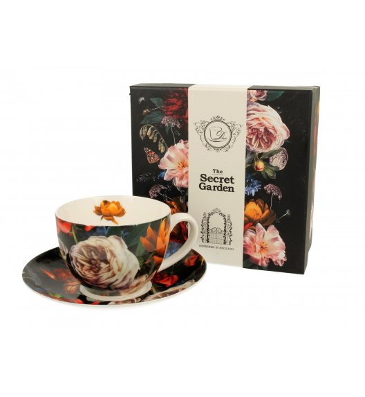 DUO DARK FLOWERS FIliżanka ze spodkiem 250 ml / porcelana