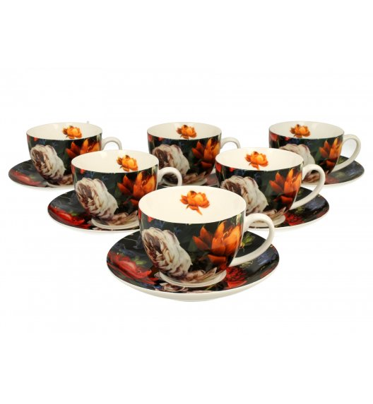 DUO DARK FLOWERS Komplet 6 filiżanek ze spodkami 250 ml / porcelana