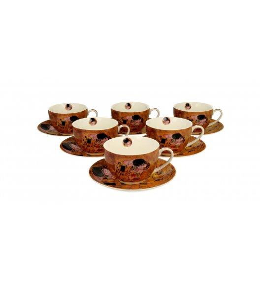 DUO KISS Komplet 6 filiżanek ze spodkami 280 ml / inspirowane dziełami Gustava Klimta / porcelana