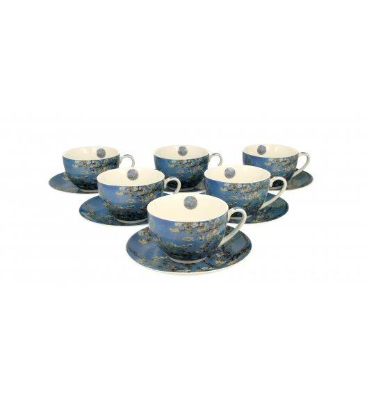 DUO ALMOND BLOSSOM Komplet 6 filiżanek ze spodkami 280 ml / inspirowany dziełami Van Gogha / porcelana