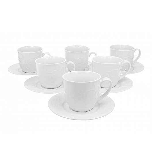DUO HEMINGWAY Komplet 12 filiżanek 250 ml ze spodkami / porcelana