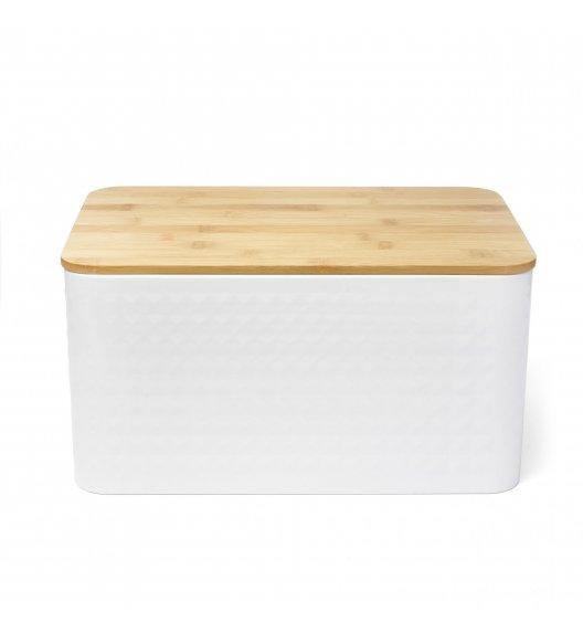 TADAR GEOMETRIC Chlebak z drewnianą pokrywką 35 x 23 cm / biały / stal nierdzewna