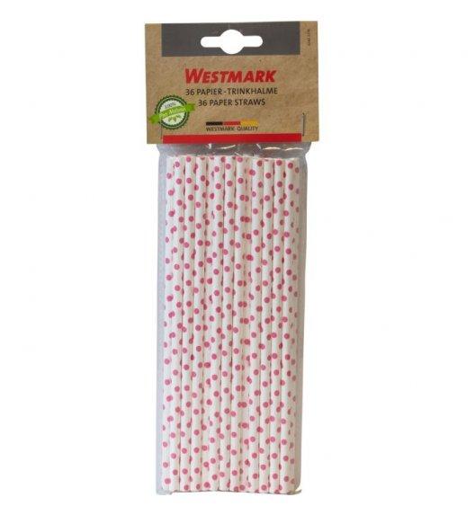 WESTMARK Eco słomki do napojów 36 szt. / biodegradowalne / różowe kropki