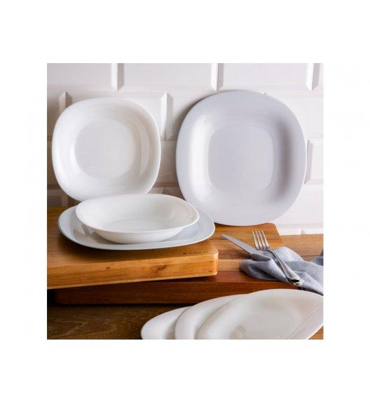 LUMINARC CARINE Serwis obiadowy dla 6 osób / 18 elementów / szkło hartowane / biało szara