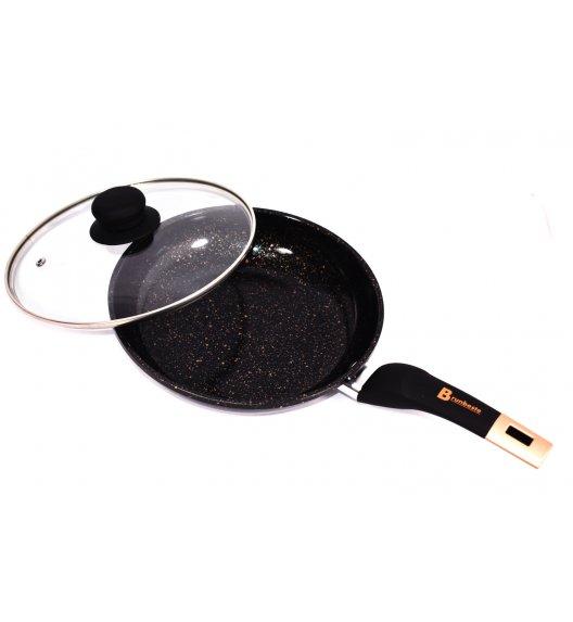 BRUNBESTE Patelnia 22 cm z powłoką marmurową + pokrywka / czarna / BRN1256