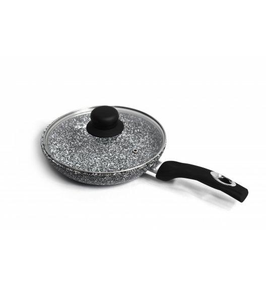 BRUNBESTE Patelnia 20 cm z powłoką marmurową + pokrywka / czarna / BRN1230