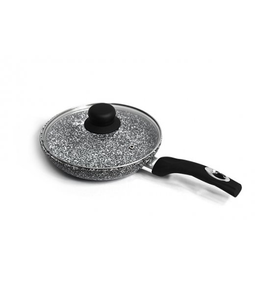 BRUNBESTE Patelnia 24 cm z powłoką marmurową + pokrywka / czarna / BRN1234