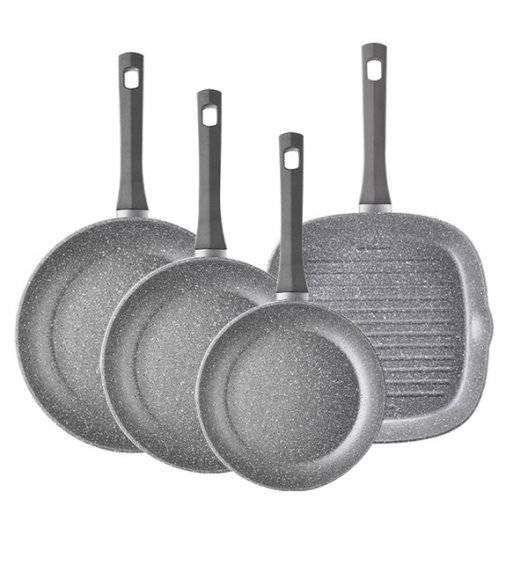 AMBITION SILVERSTONE Komplet patelni z powłoką Qualum Basic Stone Edition (20, 24, 28) cm + patelnia grillowa 26 cm / indukcja