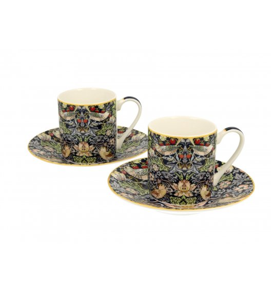 DUO STRAWBERRY THIEF Komplet 2 filiżanek espresso 80 ml + spodki / inspirowane dziełami Williama Moriss'a / porcelana