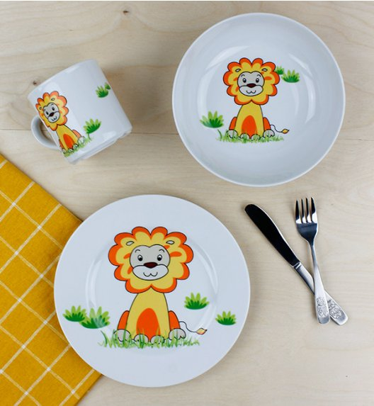 LUBIANA LEW Komplet obiadowy dla dzieci 3 el / porcelana