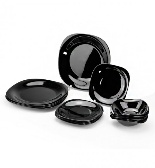 WYPRZEDAŻ! LUMINARC Carine Black Zestaw obiadowy dla 15 elementów / szkło hartowane / Wyprodukowane we Francji
