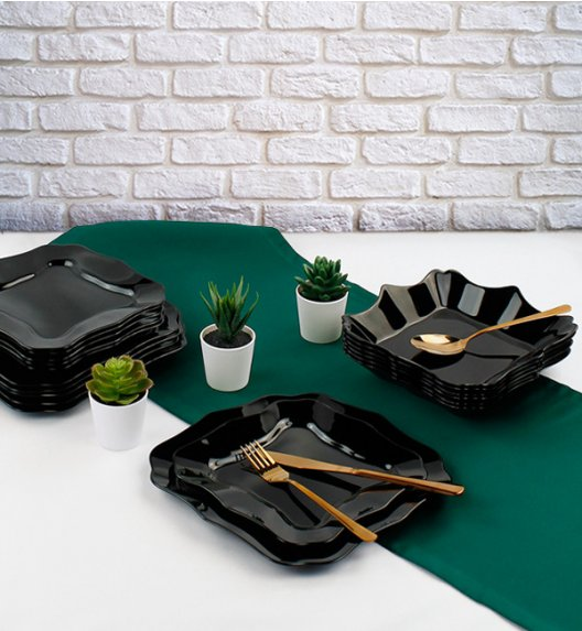 WYPRZEDAŻ! LUMINARC AUTHENTIC BLACK Serwis obiadowy 15 elementów / Wyprodukowane we Francji