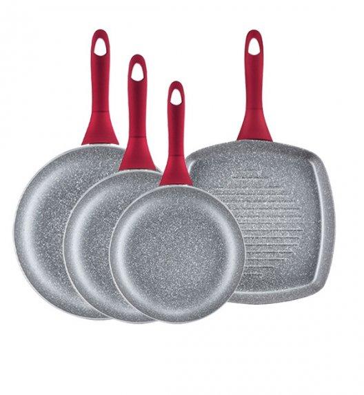 AMBITION JASPER Patelnie (20, 24, 28) cm + patelnia grillowa 26 cm / nieprzywierająca powłoka Qualum Basic Stone Edition  / czerwone