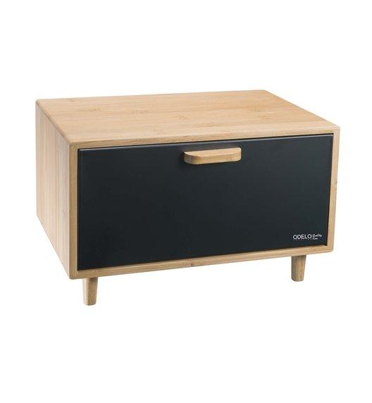 ODELO CASEY Drewniany chlebak 36 x 26 cm / czarna pokrywa / OD1677
