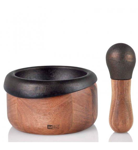 ADHOC CRUSH Moździerz 10 cm / żeliwo + drewno akacjowe / LENA