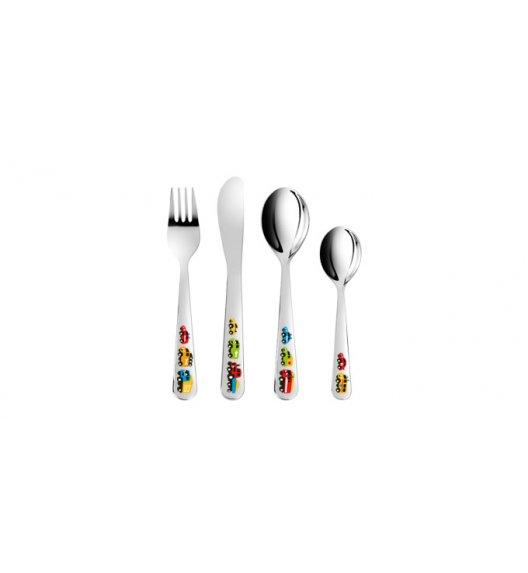 Komplet obiadowy porcelana + sztućce dla dzieci Tescoma Bambini Autka 7 elementów. ZOBACZ FILM.