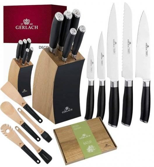 GERLACH DECO BLACK Komplet 5 noży w bloku + deska dębowa + kpl 5 przyborów