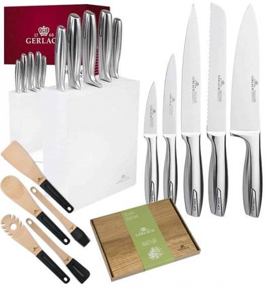 GERLACH MODERN Komplet 5 noży w bloku + deska dębowa + kpl 5 przyborów