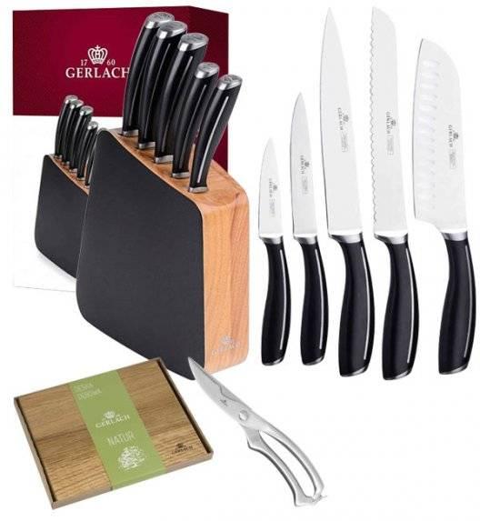 GERLACH LOFT Komplet 5 noży w bloku + nożyce do drobiu +deska dębowa