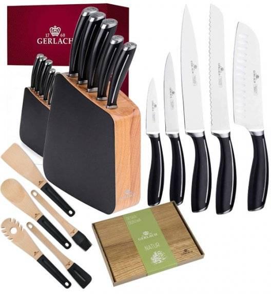 GERLACH LOFT Komplet 5 noży w bloku + deska dębowa + kpl 5 przyborów