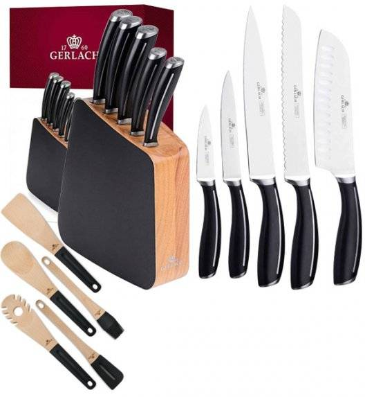 GERLACH LOFT Komplet 5 noży w bloku + komplet 5 przyborów