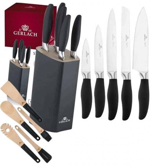 GERLACH STYLE Komplet 5 noży w bloku + komplet 5 akcesoriów