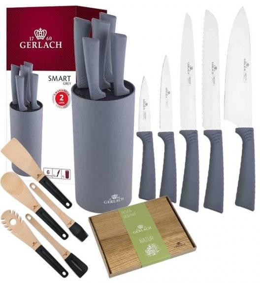 GERLACH SMART GREY Komplet 5 noży w bloku + deska dębowa + kpl 5 przyborów