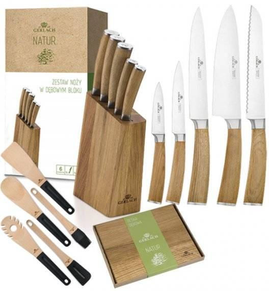 GERLACH NATUR Komplet 5 noży w bloku + deska dębowa + kpl 5 przyborów