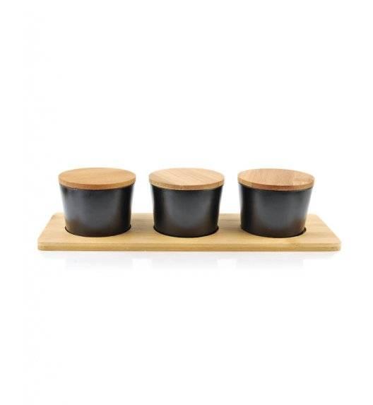 MONDEX BAMBOO Komplet 3 pojemników na desce 200 ml / czarny / drewno bambusowe